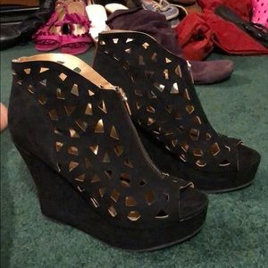 Caged Black Zip Up Heels from Forever 21